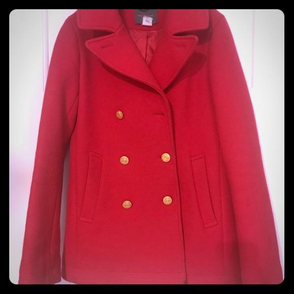 J.Crew Classic Cherry Red Pea Coat Sz 4 Tall